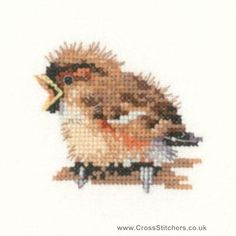 free small chickadee counted cross stitch pattern | One of a series of cute counted cross stitch bird designs by Valerie ...