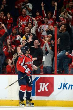 Ovechkin greets his fans after scoring four points in a game