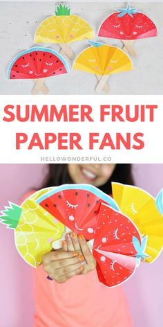 These cute Fruit Paper Fans are a fun summer craft for kids. Get the printable template #hellowonderful Summer Preschool Activities, Preschool Arts And Crafts, Kids Crafts, Easy Art For Kids, Spring Crafts For Kids, Art And Craft Videos, Printable Crafts, Free Printables, Paper Fans