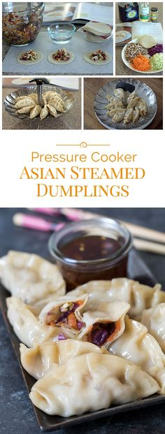 Easy-to-make Pressure Cooker Asian Steamed Dumplings filled with a colorful blend of shiitake mushrooms, red and green cabbage, and shredded carrots in a soy ginger sauce.