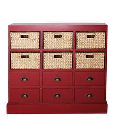 Red Nantucket Six-Drawer & Basket Cabinet #zulily #zulilyfinds