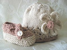 Knitted Baby Hat  Hand Knitted Baby Hat in Ivory by CottonPickings, $23.00