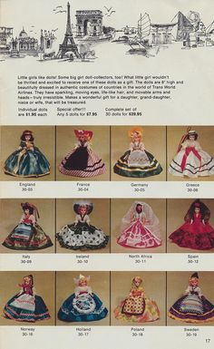 """TWA airlines cataloge...""""Dolls of the World""""...my dad used to always get me one when he travelled"""
