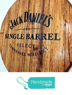 Jack Daniels personalized whiskey barrel top | Handpainted liquor artwork and your message on a distressed wood sign | Rustic wall decor from Woodcraft City http://www.amazon.com/dp/B015LUAWBA/ref=hnd_sw_r_pi_dp_h9G6wb1JB83BB #handmadeatamazon