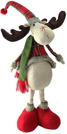 This cute Northlight Seasonal red and green plaid 2 leg standing deer is the perfect addition to your Christmas decorations. Moose Crafts, Diy And Crafts, Christmas Crafts, Christmas Decorations, Christmas Ornaments, Snowman Decorations, Christmas Stockings, Christmas Moose, Christmas Sewing