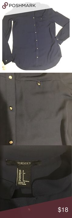NEVER WORN Forever 21 navy button up shirt Navy button up shirt with gold buttons and breast pocket. Can be dressy or casual-luxury. Size small. Forever 21 Tops Button Down Shirts