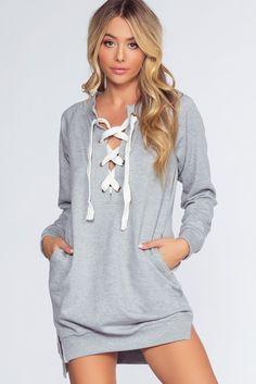 Tinsley Sweatshirt Dress - Heather Gray