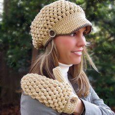 Popular items for newsgirl hat on Etsy Crochet Newsboy Hat, Crochet Hat With Brim, Bonnet Crochet, Crochet Beanie Pattern, Knitted Hats, Crochet Patterns, Hat Patterns, Puff Stitch Crochet, Free Crochet