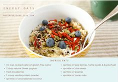 Recipe of the Week: Energy Oats Move Nourish Believe