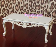 1:6 Barbie Furniture Wooden Coffee Table Square Top With Hollow-out Side Gold Side White Handpainting Handmade SL0032. $73.99, via Etsy.