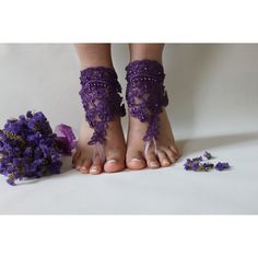 FREE SHİPP Purple Lace Barefoot Sandals, french lace, Nude shoes, Foot... ($25) via Polyvore featuring shoes, sandals, lace anklets, lace bridal shoes, lace shoes, nude shoes ve lace-up sandals