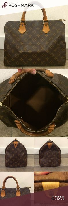 Authentic Louis Vuitton Speedy 30 Such a classic, timeless piece! The Speedy is always in style and the monogram print will go with everything! The 30 is a great everyday size!  The bag is in great condition overall. Monogram canvas is in excellent condition. Vachetta has a beautiful patina. Interior is clean with a slight vintage smell. Leather tab from zipper pull is missing. Feel free to ask questions or make an offer! Louis Vuitton Bags