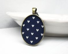 Valentines Day Heart Necklace, Navy Blue Necklace, White Navy Blue Jewelry, Gold Nautical Blue Pendant, Pattern