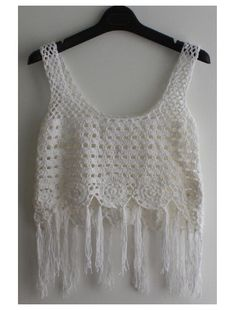 Round Neck Sleeveless Tassel Knitted Cover Up (White) Nappe dd00ae5c445
