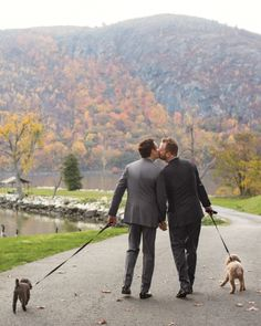 "A Walk to Remember: Matthew and Jack strolled to the ceremony with their dogs. ""The chapel is on a hilltop, so our guests could see us making our way up, and we could hear music from the xylophonist drifting down,"" recalls Matthew. ""It's a moment I'll always remember."""
