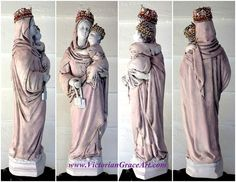 $165 JEWELED SHABBY Pink White Rhinestone Crown Mother Mary Madonna Child Jesus Christ Plaster Statue Blessed Virgin Our Lady Mt Carmel Catholic Shrine. French chic style.