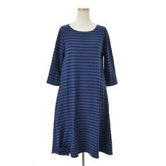 kanful | Rakuten Global Market: apuntob border pattern fabric / 7 sleeves dress brand vintage camphor