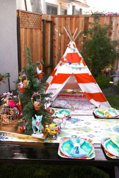 Fun teepee at a whimsical woodland birthday party!  See more party planning ideas at CatchMyParty.com!