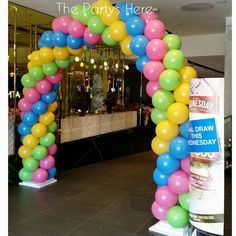 Garland Balloon arch for Bankstown Sports Club quarterly Members Draw.  www.thepartyshere.com.au  #balloons #qualatex #promotion #draw #balloonarch #balloondecor #balloondelivery