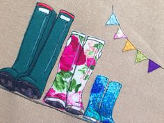 Family of three wellies with a bunting string, freehand machine embroidery appliqué and paint Freehand Machine Embroidery, Free Motion Embroidery, Machine Embroidery Applique, Embroidery Hoops, Sewing Box, Free Sewing, Stitch Pictures, Stamp Printing, Small Art