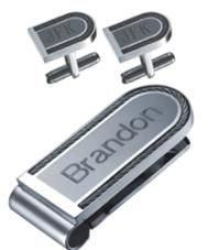 Visol Teruel Stainless Steel Money Clip and Cufflinks Gift Set