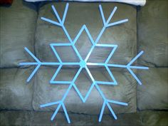 """My 24"""" popsicle stick snowflake * matches our christmas tree ornaments!"""