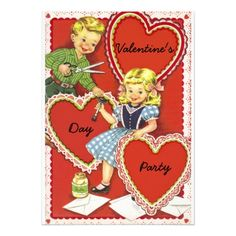 Valentine's Day Party Invitations Vintage Valentines Day Party Card
