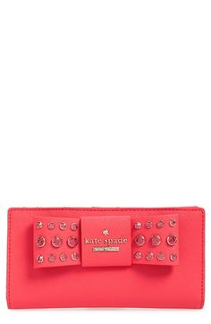 kate spade new york 'davies mews - stacy' crystal embellished leather wallet