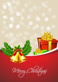 Christmas presents with golden bells Free Vector