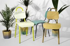 Dining Chair Yellow and White by Primary Grey