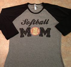 Custom Softball Mom Baseball Tee Shirt by GirlieGirlCouture, $22.00