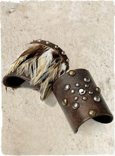 Peruvian Connection Studded Leather Cuff and Feather Cuff