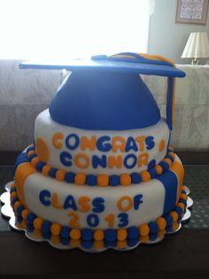 Blue and gold graduation Cap cake