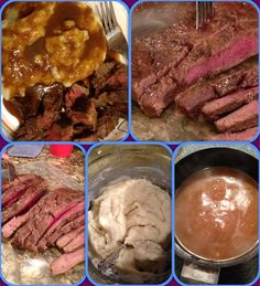 Flank Steak & home made mashed potatoes Making Mashed Potatoes, Flank Steak, Yummy Yummy, Beef Recipes, Homemade, Meat, Cooking, Food, Skirt Steak