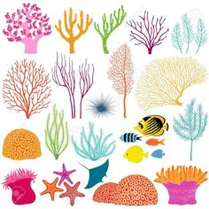 Find Set Colorful Underwater Design Elements stock images in HD and millions of other royalty-free stock photos, illustrations and vectors in the Shutterstock collection. Coral Reef Plants, Coral Reef Art, Coral Reefs, Coral Reef Drawing, Coral Painting, Meer Illustration, Flora Und Fauna, Sea Plants, Ocean Themes