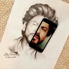 Cool Art Drawings, Cool Sketches, My Name Is Khan, Shah Rukh Khan Movies, Portrait Sketches, King Of Hearts, Half Girlfriend, Black And White Portraits, Indian Celebrities