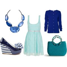 Cute mint dress with navy & blue accessories What Should I Wear, What To Wear, Teen Fashion, Womens Fashion, Senior Picture Outfits, Mint Dress, Girl Outfits, Fashion Outfits, Clothing Photography