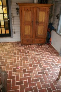Entryways and hallways - Inglenook Brick Tiles - thin brick flooring, brick pavers, ceramic brick tiles, brick floors. Porch Tile, Porch Flooring, Living Room Flooring, Brick Flooring, Floors, Porch Makeover, Basement Makeover, Brick Tiles, Brick Pavers