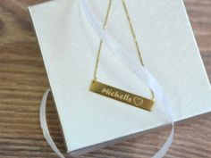 18K Gold Plated Engraved Bar Necklace with by SincerelyMePJD, $38.95
