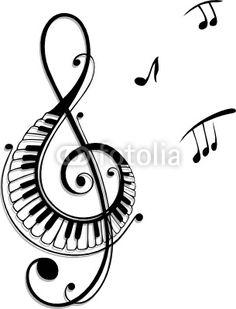 Noten, Notenschlüssel, Musiknoten, Musik - Buy this stock vector and explore similar vectors at Adobe Stock Music Drawings, Music Artwork, Music Tattoos, Body Art Tattoos, Zentangle, Tattoo Painting, Music Doodle, Ballet Music, Lotus Tattoo