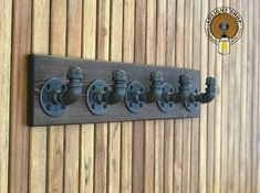 Industrial Modern Rustic Pipe Coat Rack on Wood Storage Rustic Industrial, Modern Rustic, Rustic Wood, Industrial Bathroom, Wood Wood, Jacuzzi, Bathroom Towels, Bathroom Rack, Kitchen Towels