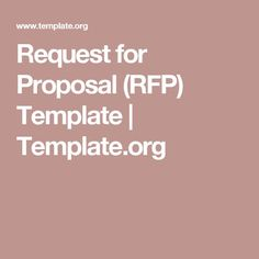 request for proposal rfp template templateorg