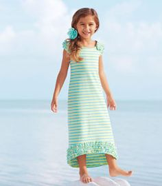 rhymes-with-lime maxi dress - A refreshing style for those warm days we all love. Easy and playful, it's made from a stretchy knit and sports a longer hem in back. Rows of ruffles trim the cap sleeves, back and hem.
