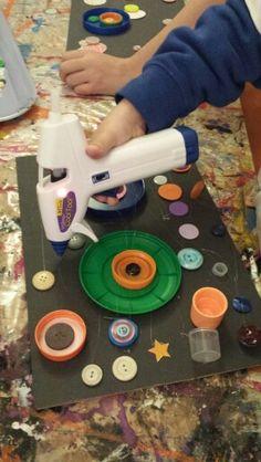 Kandinsky inspired work using Cool Tool glue guns and anything circular!