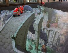 D Street Art, also referred to as 3D chalk art is 2-dimensional artwork drawn on the street that gives you a 3-dimensional optical illusion. Description from thetegmentum.com. I searched for this on bing.com/images