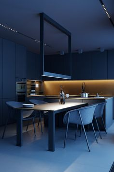 Attractive Small Kitchen Design IdeasBy Narrow room is often an obstacle in arranging a kitchen, many have difficulty Interior Design Examples, Loft Interior Design, Loft Design, Interior Design Inspiration, House Design, Render Architecture, Interior Architecture, Architecture Details, Design Connected