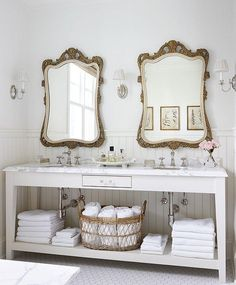 Dreaming of decorating your bathroom in a French country cottage style? Double up on bathroom mirrors to get some symmetry into your design. French Country Cottage, French Country Decorating, French Country Bathroom Ideas, French Bathroom, Cottage Decorating, Rustic French, Cottage Farmhouse, Rustic Chic, Country Chic