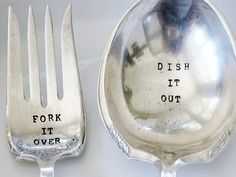 Serving Fork and Spoon mismatched set Fork by LoveLettersUpcycled