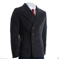 FLATSEVEN Herren Winter Zweireiher Pea Coat Kurze Jacke (CT121)