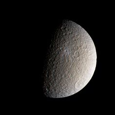 Saturn's icy moon Rhea, as seen yesterday by the robotic spacecraft Cassini. Color composite by Jason Major.